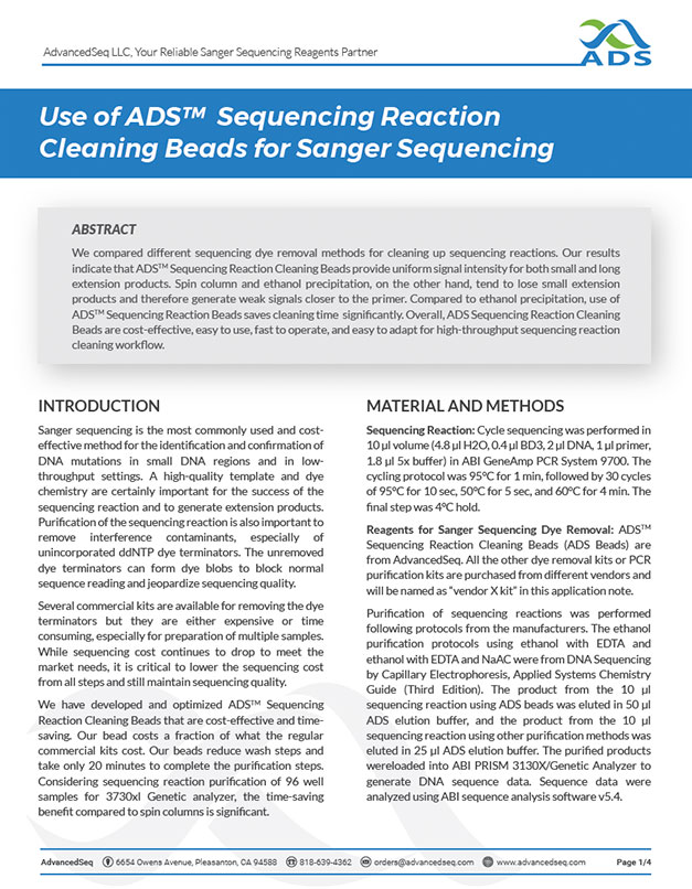 Application note for sequencing reaction cleaning using magnetic beads