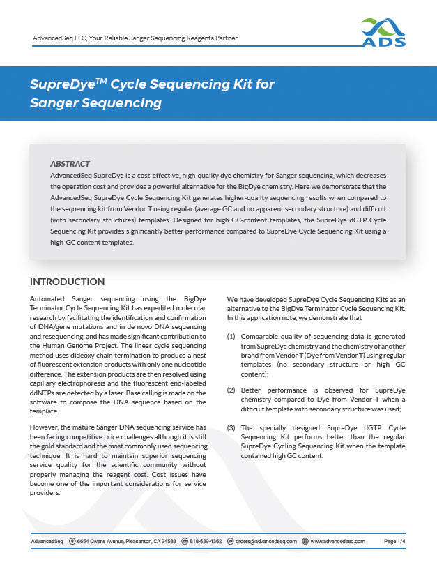 SupreDye chemistry used for Sanger sequencing